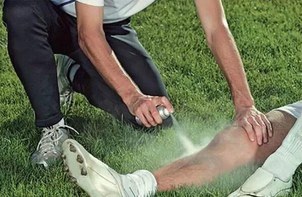 运动员受伤时使用的喷雾是什么?