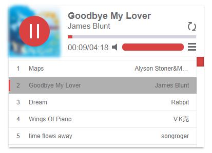 一款好看又简洁的HTML5音乐播放器skPlayer