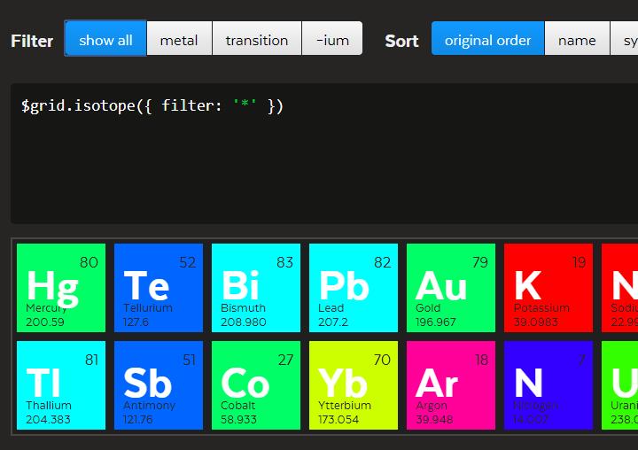 jQuery分类过滤和排序布局插件Isotope